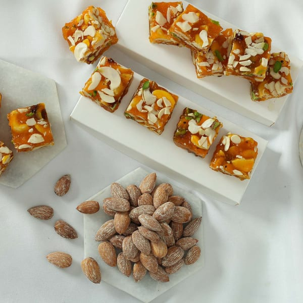 Combo Pack of Karachi Halwa and Roasted Almonds Can: Gift/Send