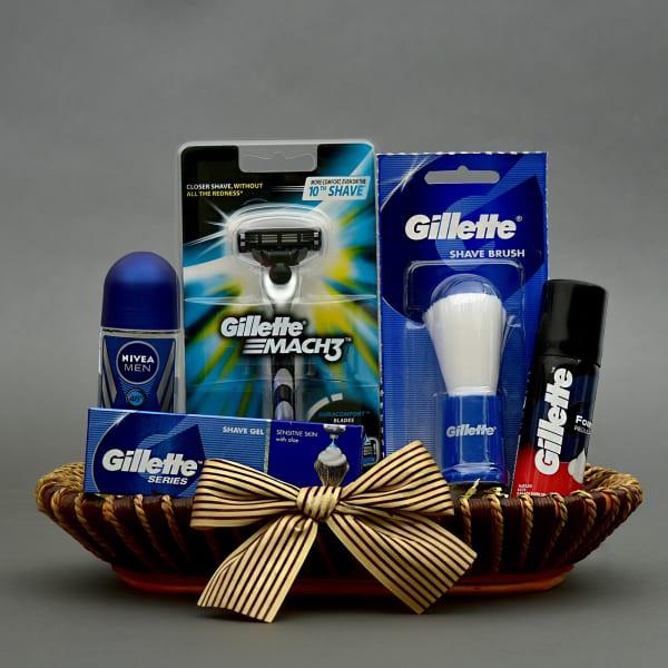 Mens Wedding Gift Ideas: Complete Men Grooming Hamper In Jute Tray: Gift/Send