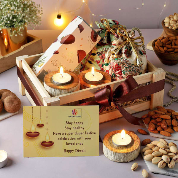 Cookies And Dry Fruits With Potli In Wooden Tray - Customized With Logo