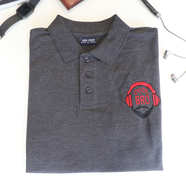 Cool Bro Polo T-Shirt For Men - Charcoal Grey