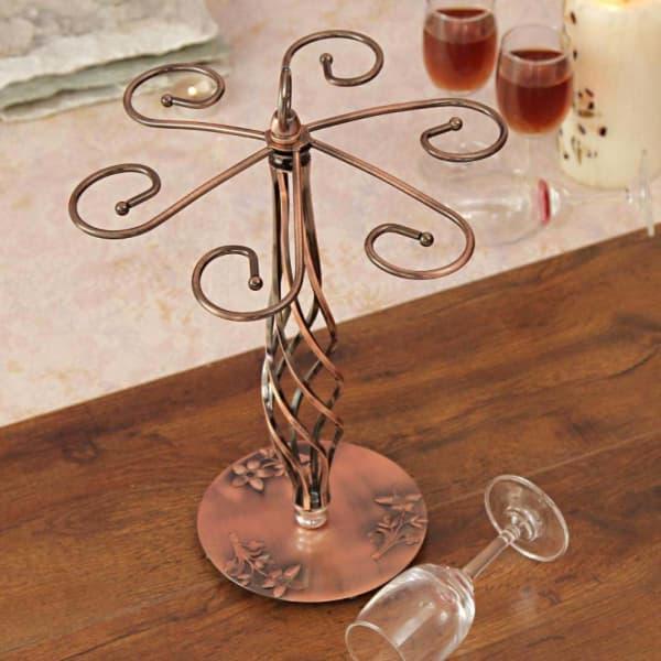 Copper Based Metal Centerpiece Wine Glass Holder