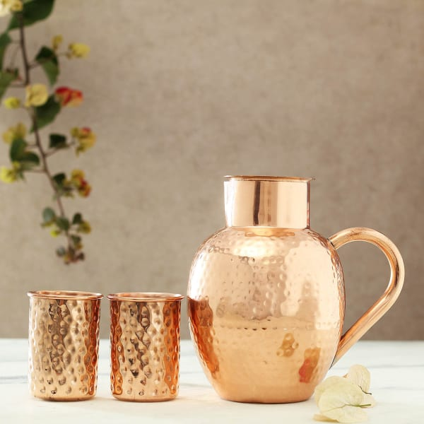 Copper Glasses with Jar