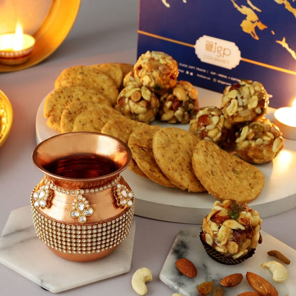 Copper Karwa With Dry Fruit Ladoo And Mathri
