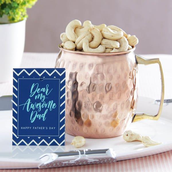 Copper Mug with Cashews: Gift/Send
