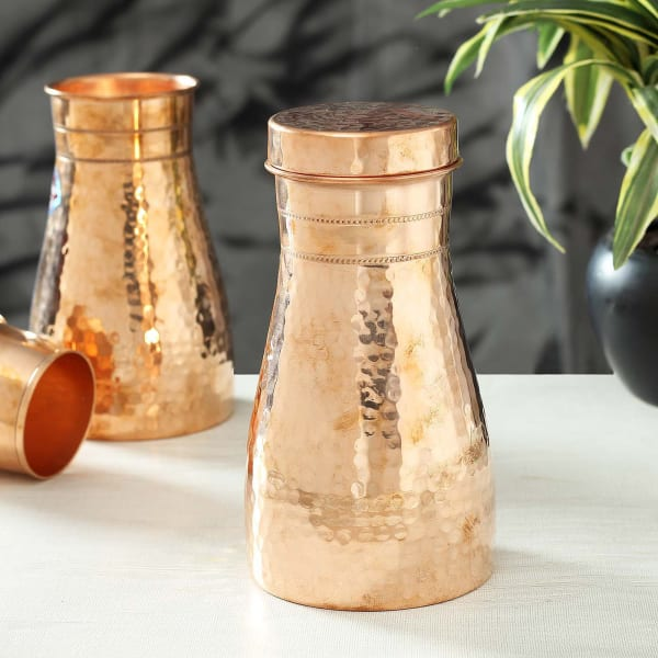 Copper Water Bottle & Lid with Thathera work