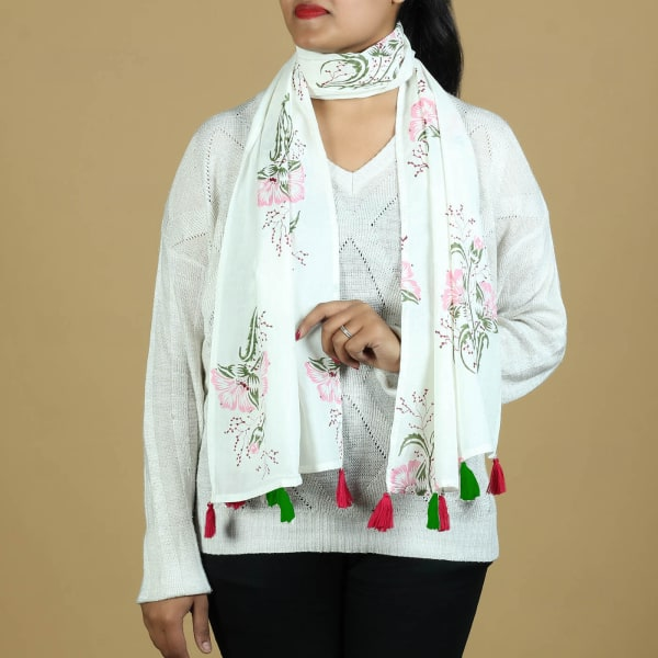 Cotton Stole with Hibiscus Print and Tassels