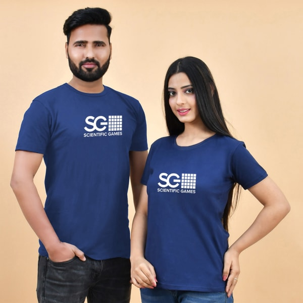 Couple Blue T-Shirt With Logo
