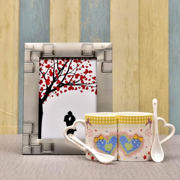 Couple Coffee Mug Set with Silver Plated Photo Frame