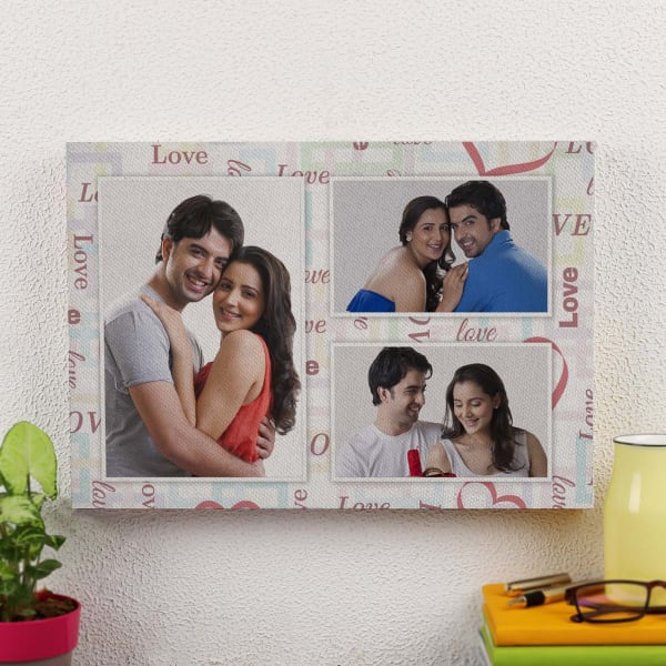 Couple Collage Personalized A3 Canvas