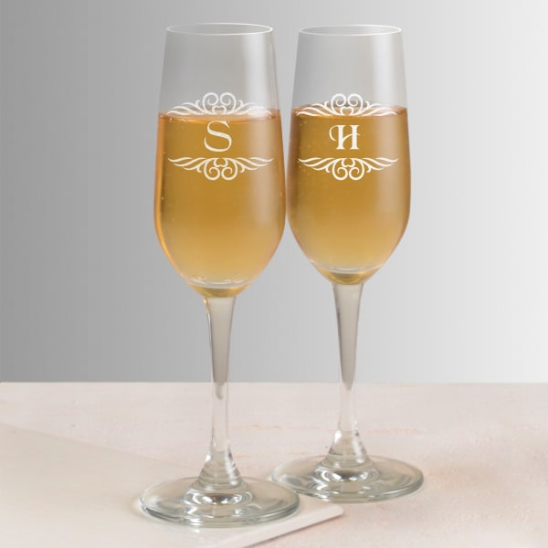 Couple Personalized Champagne Glasses