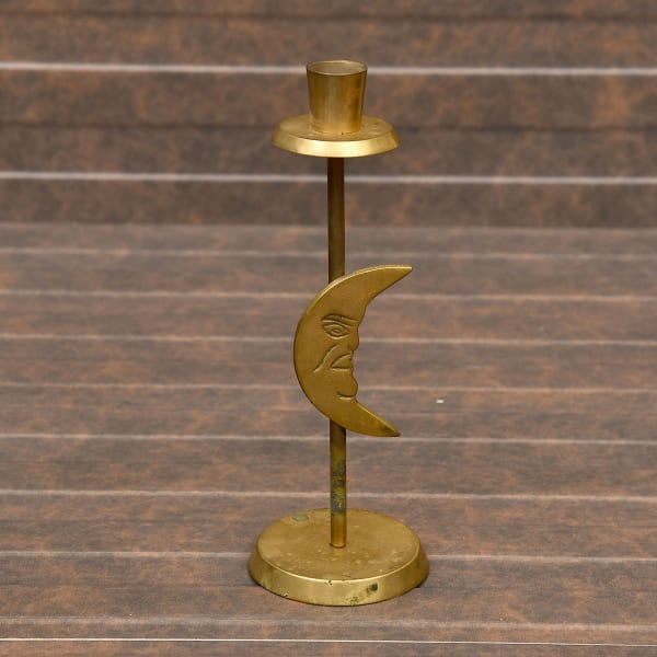 Crescent Moon Brass Holder 9 Inch