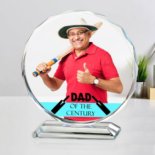 Cricket Lover Dad Personalized Crystal Photo Stand