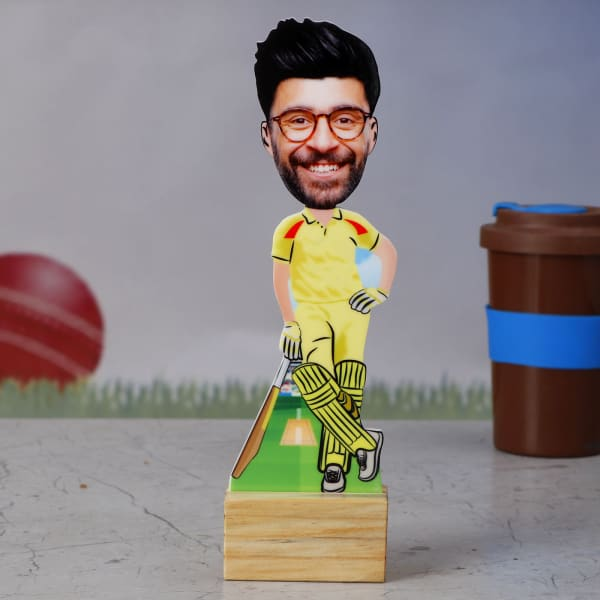 CSK Cricket Fan Personalized Caricature Stand