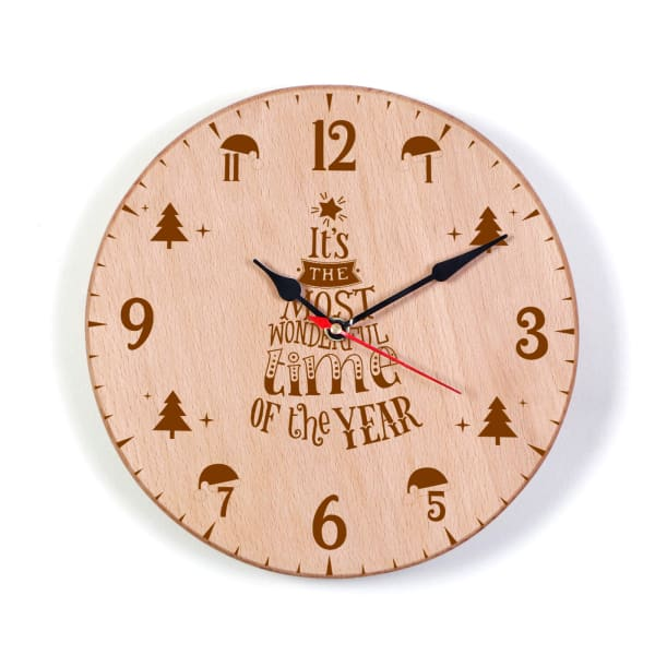 Customized Christmas Themed Wooden Clock