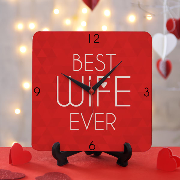 Customized Clock With Stand Best Wife Ever Gift Send Home And Living Gifts Online J11060860 Igp Com