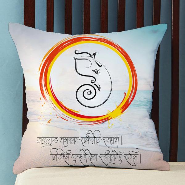 Customized Satin Pillow with Ganpati Print