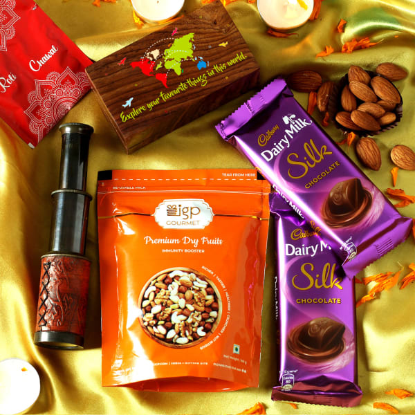 Customized Telescope with Dairy Milk Silk Chocolates & Almonds Hamper