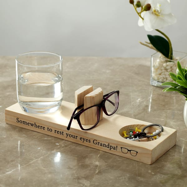 Customized Wooden Eyeglasses Stand and Desk Organizer for Grandpa