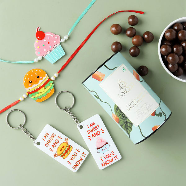 Cute Kids Rakhis With Keychains And Crispy Treats