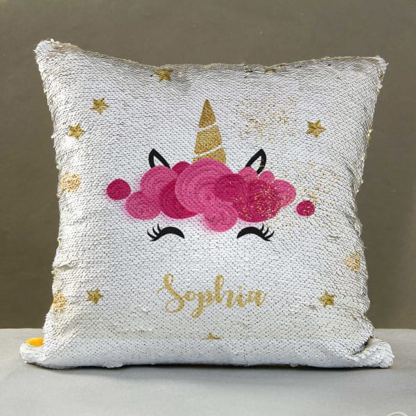 Cute Unicorn Personalized Sequin Cushion