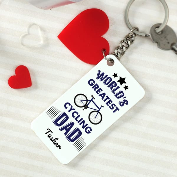 Cycling Dad Personalized Keychain With Heart