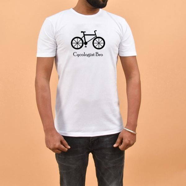 Cycologist Bro White Cotton T Shirt