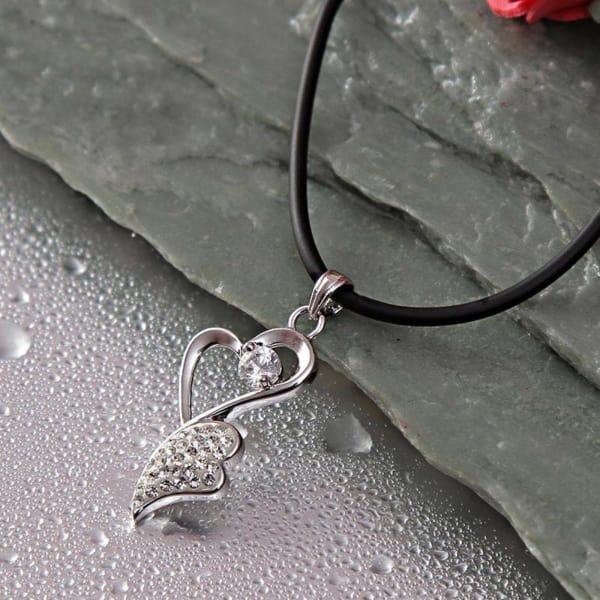CZ Crystal Embellished 92.5 Sterling Silver Pendant Necklace