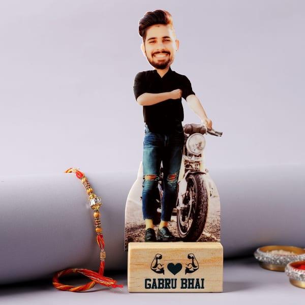 CZ Rakhi With Gabru Bhai Personalized Caricature
