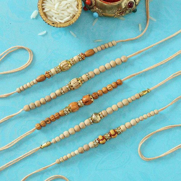 CZ Ring Rakhis with Sandalwood Beads