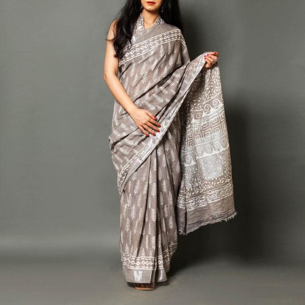 Dabu Print Linen Saree