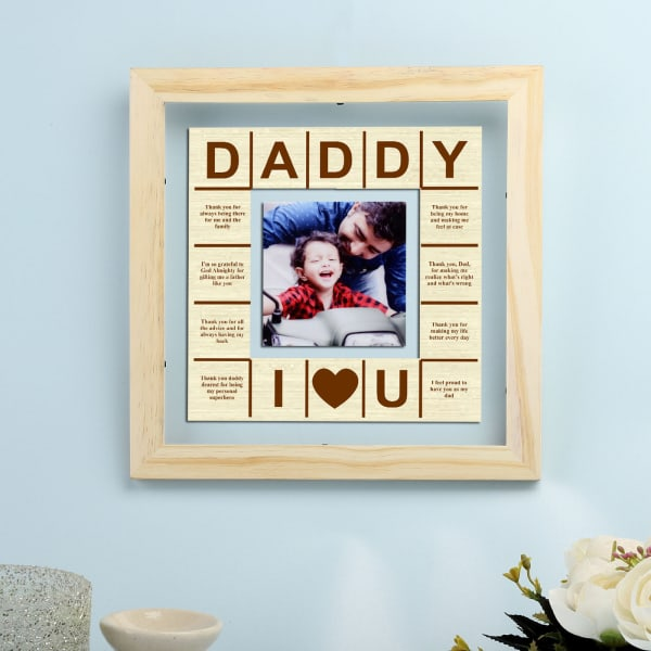 Daddy Love Personalized Wooden Photo Frame