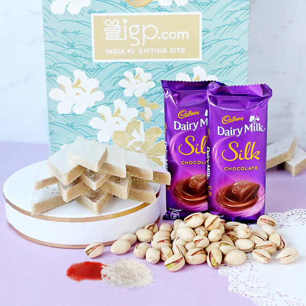 Dairy Milk Silk Bars with Kaju Katli & Pistachios