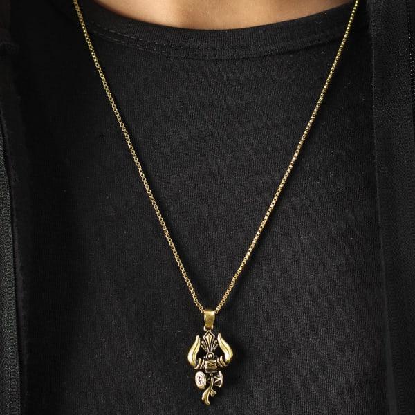 Damru & Trishul Engraved Oxidised Gold Finish Men's Pendant