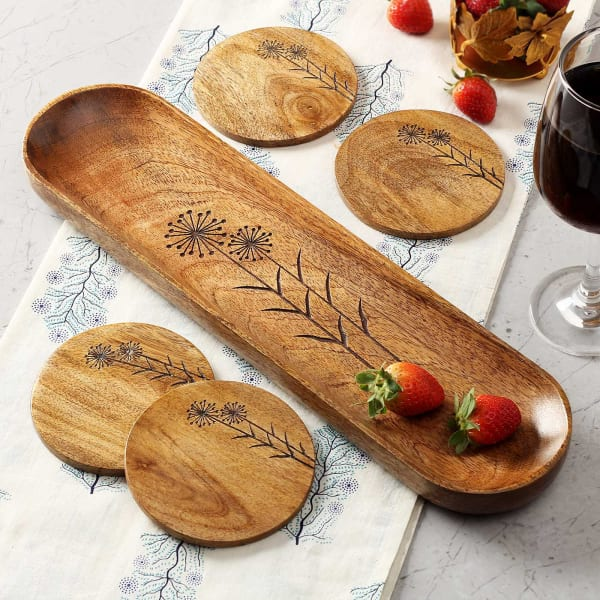 Dandelion Fruit Platter with Coasters (Set of 4)