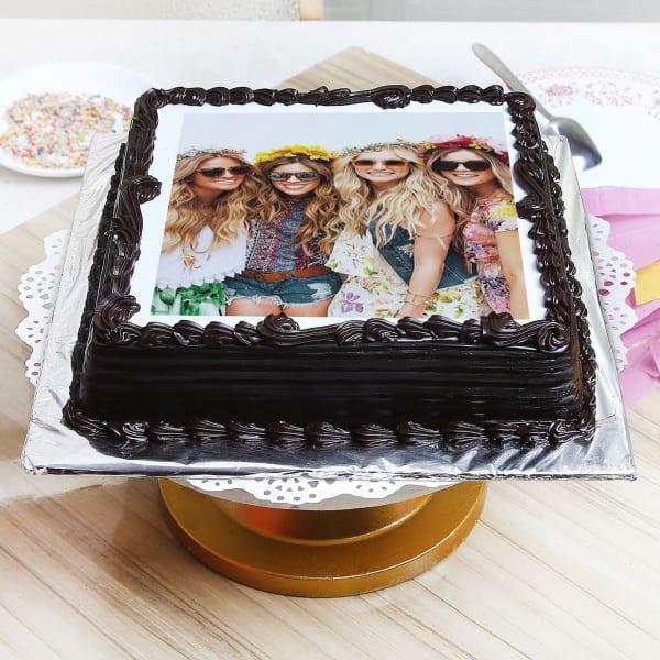 Dark Chocolate Personalised Photo Cake (Half Kg)