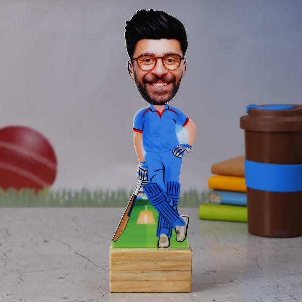 DC Cricket Fan Personalized Caricature Stand