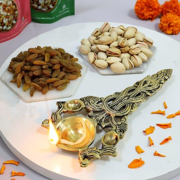 Decorative Aarti Diya With Dry Fruits