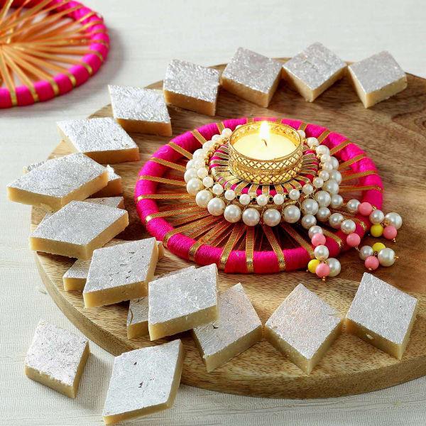 Decorative Candle Diya with Kaju Katli