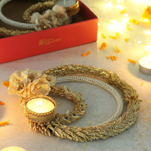 Decorative Candle Diya with Zari, Pearl & Gota Work