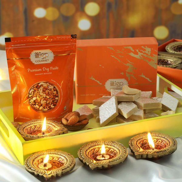 Decorative Clay Diya & Kaju Katli with Almonds Hamper
