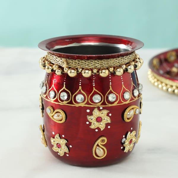 Decorative Karwa with Beads Work