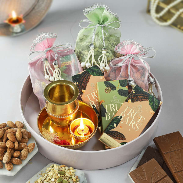 Decorative Karwa With Pooja Thali And Samagri Gift Set