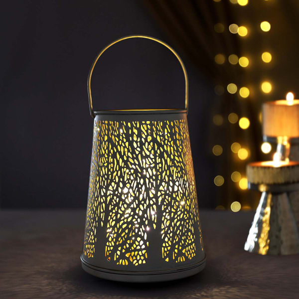 Decorative Lantern With LED String Light - Off White