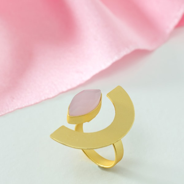 Designer Adjustable Handmade Ring with Semi Precious Stone