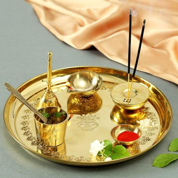 Designer Brass Puja Thali (10 Inches)