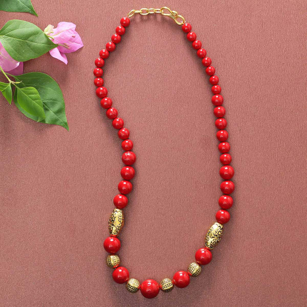 Designer Coral Beads Necklace: Gift/Send Jewellery Gifts Online J11106606  |IGP.com