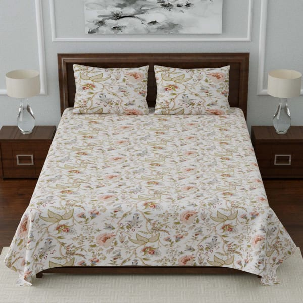 Designer Floral Double Bedsheet with Pillow Covers