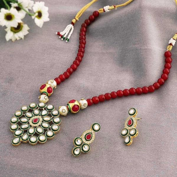 Designer Kundan Necklace Set with Red Stones