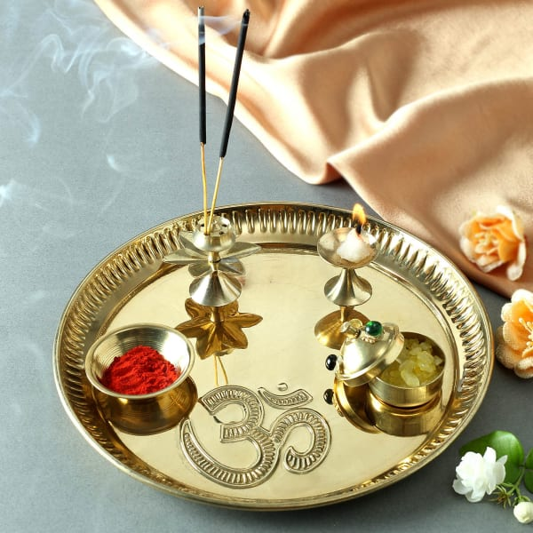 Designer Om Puja Thali in Brass (8 Inches)