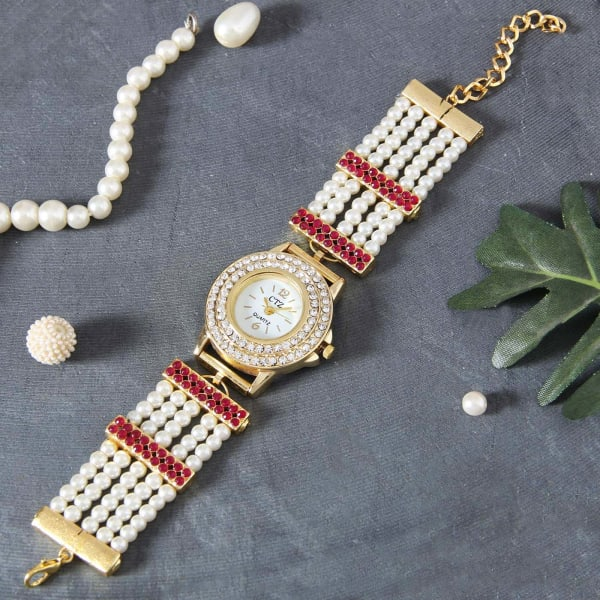 Designer Party Watch in Ivory and Coral